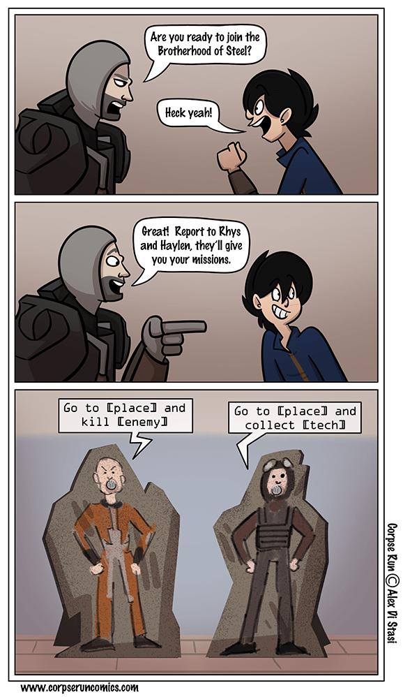 web comics brotherhood of steel important quest