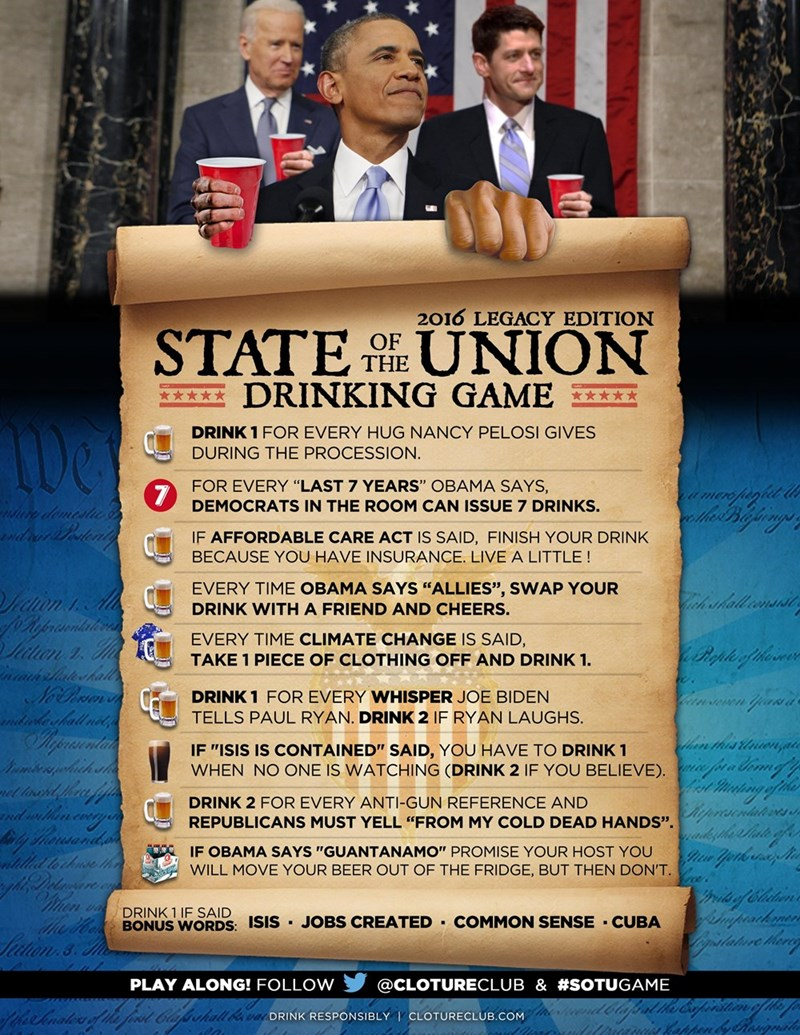 funny political image 2016 state of the union drinking game