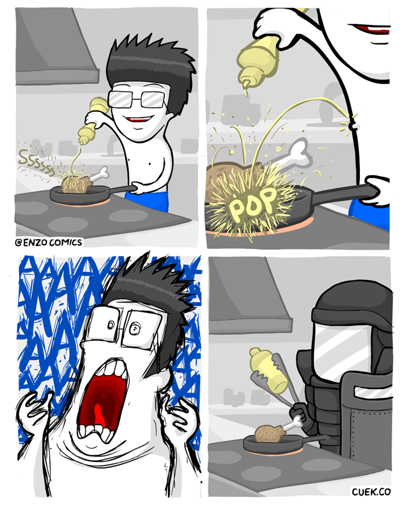 cooking,oil,armor,web comics