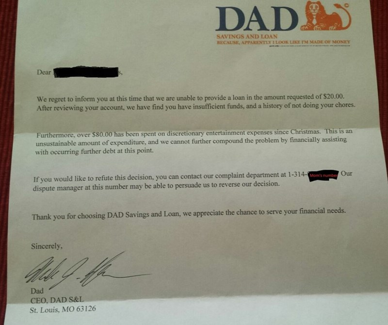 funny parenting image dad responds to 6 year old's request for advance in allowance