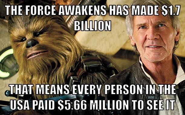 force awakens every person paid five million to see it
