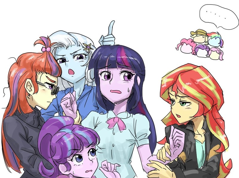 the great and powerful trixie,moon dancer,starlight glimmer,twilight sparkle,sunset shimmer