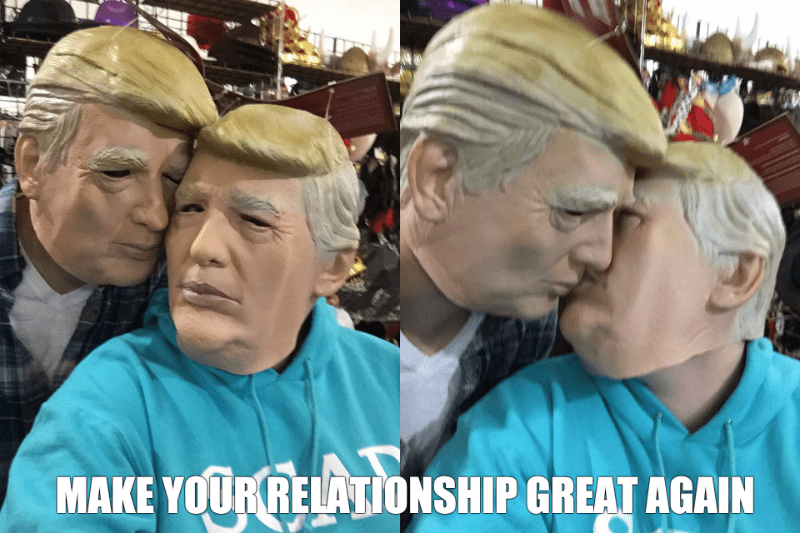 donald trump masks kissing