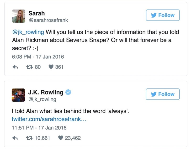 harry potter what jk rowling told alan rickman about snape
