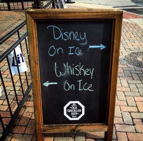 disney on ice whiskey on ice sign