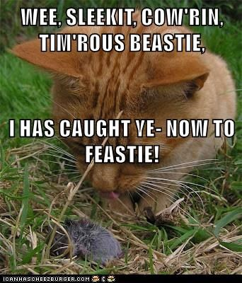 WEE, SLEEKIT, COW'RIN, TIM'ROUS BEASTIE, I HAS CAUGHT YE- NOW TO FEASTIE!