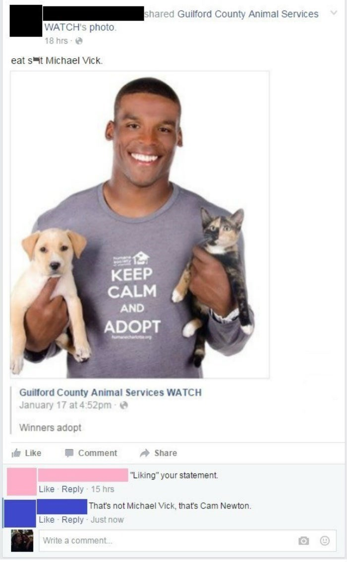 adoption FAIL pets nfl cam newton michael vick facebook animals - 8606118144
