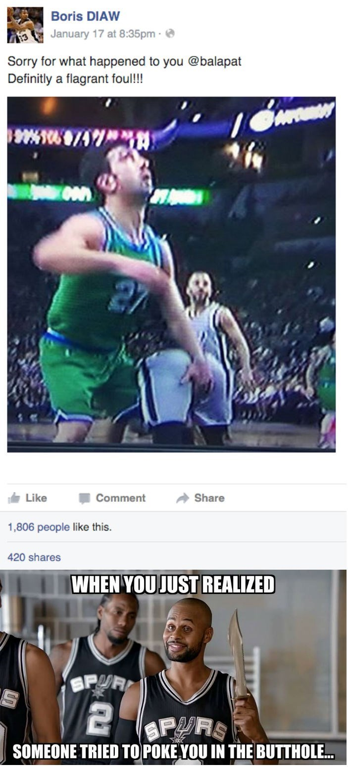 funny sports fail facebook post by Boris Diaw shows teammate got poked in butthole