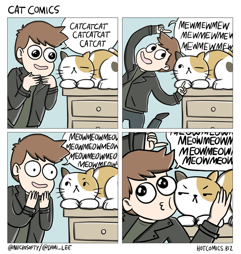 web comics cats Standard Reaction to a Cat Sighting