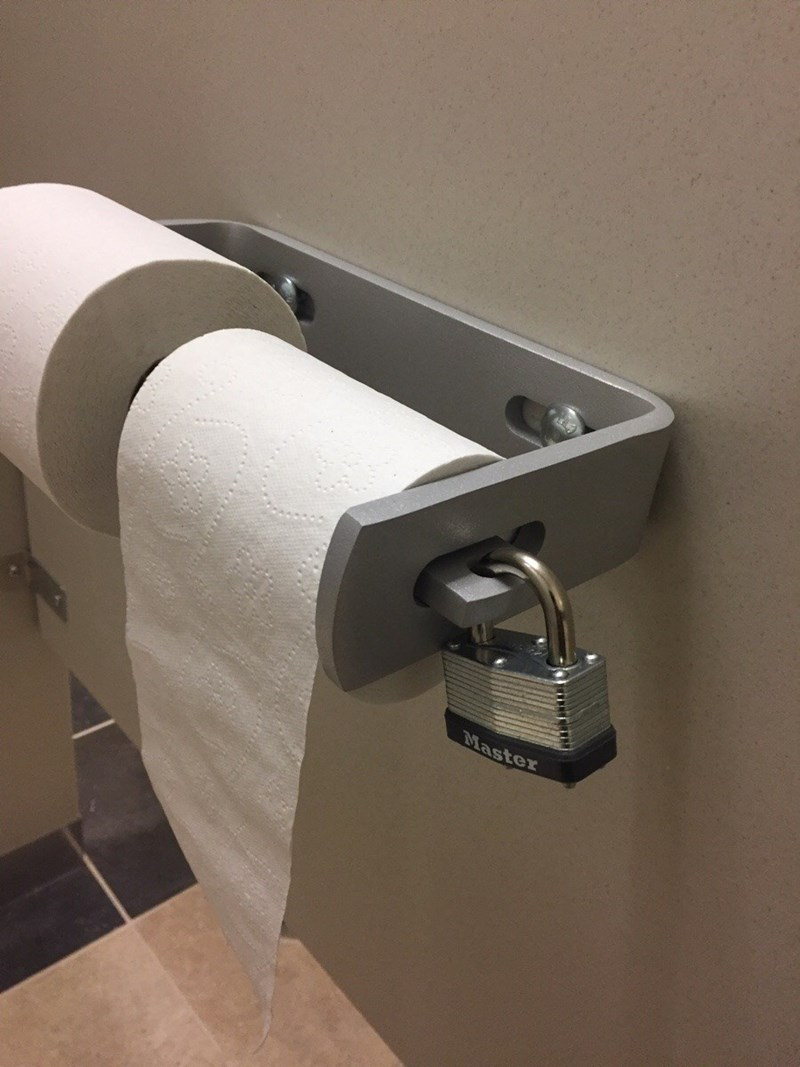 funny fail image school locks toilet paper