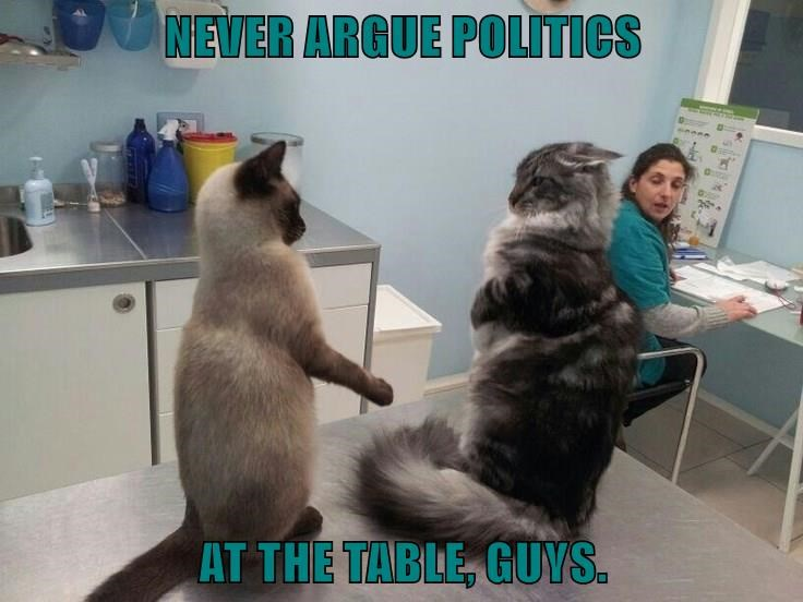 NEVER ARGUE POLITICS   AT THE TABLE, GUYS.