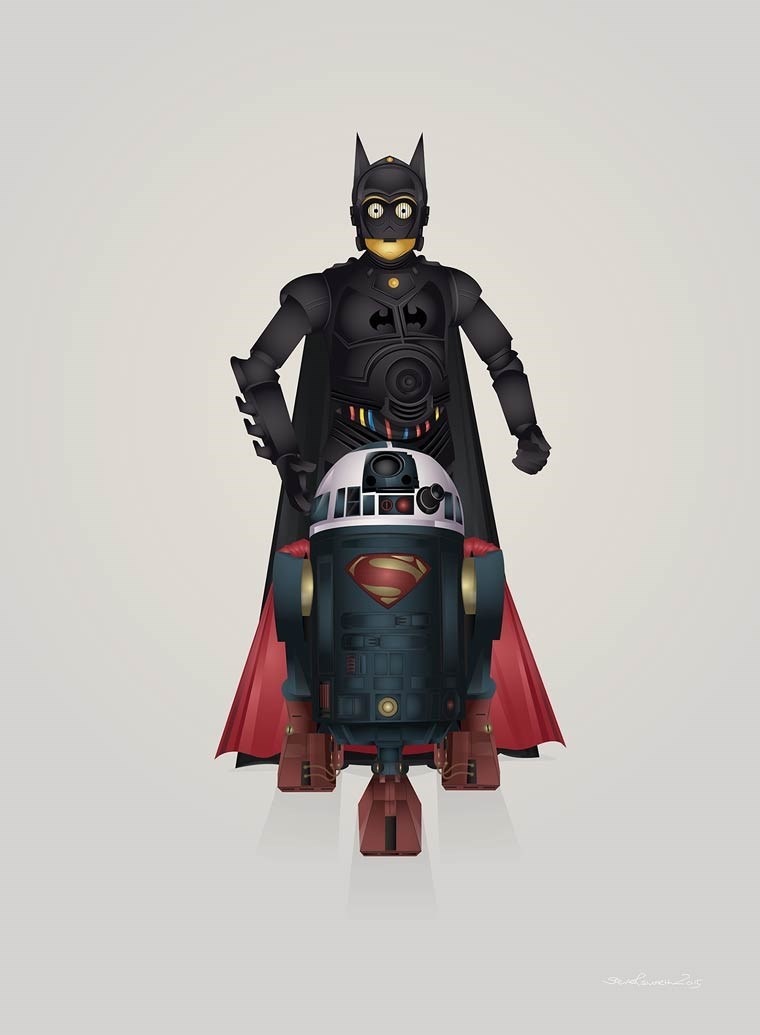 superheroes batman star wars SupeR2-D2 v Bat-3PO
