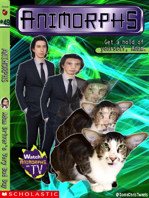 funny animal image of adam driver morphing into a cat