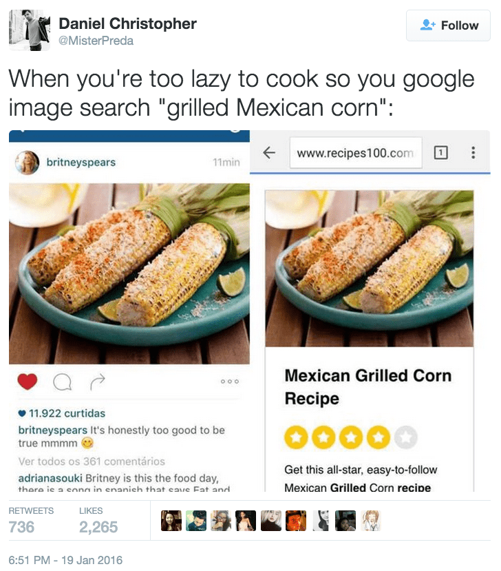 funny fail image Britney Spears posted a google image search for grilled corn as her own