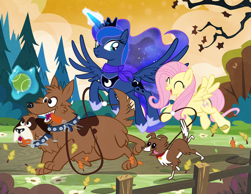 orthros,winona,princess luna,fluttershy