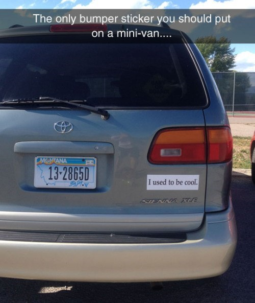 funny parenting image minivans are uncool