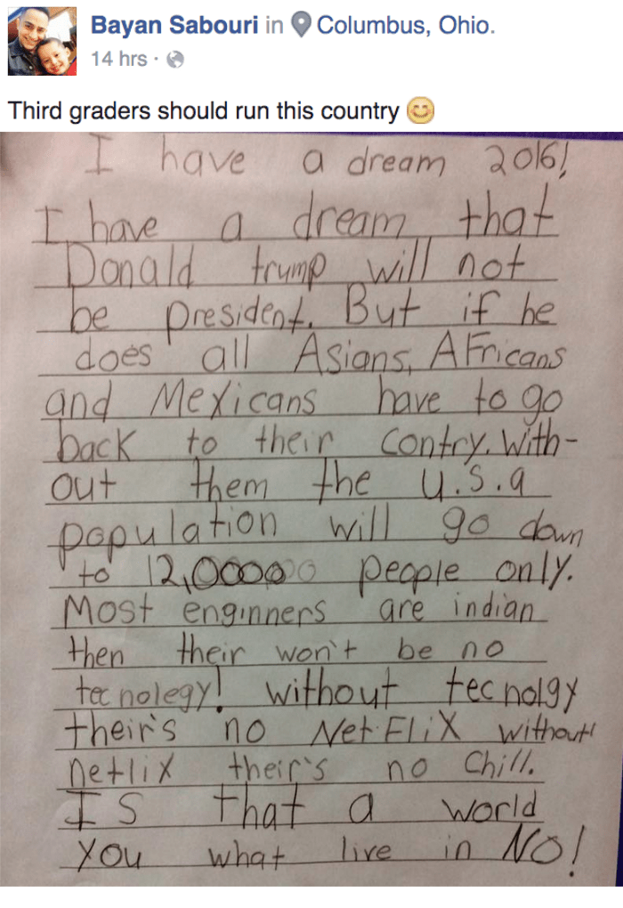 funny political image third grader uses netflix and chill to dissuade electing Donald Trump