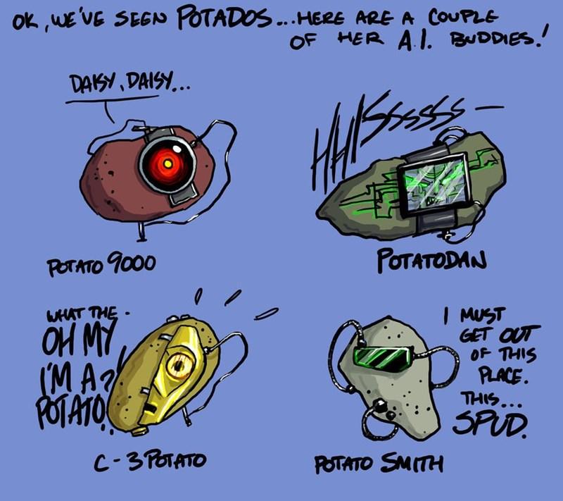 crossover Fan Art gladOS potatoes - 8607168768