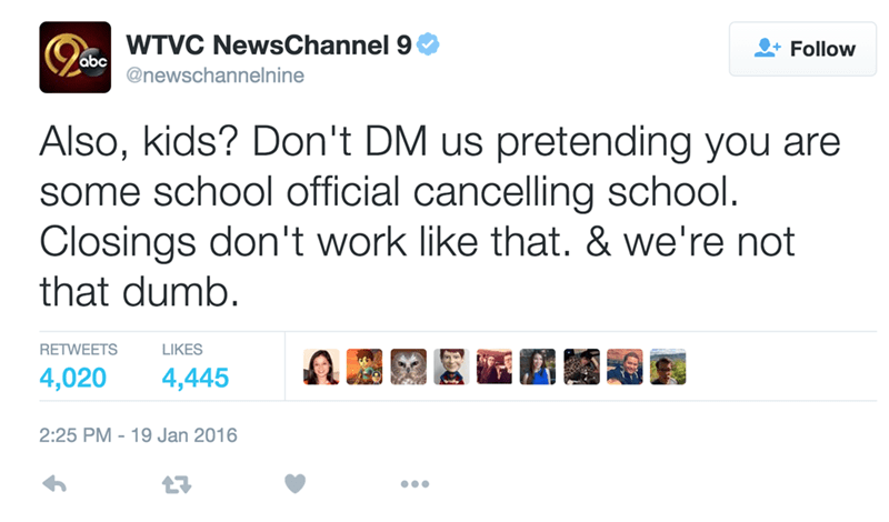 funny fail tweet school kids try to troll news into calling a snow day for school
