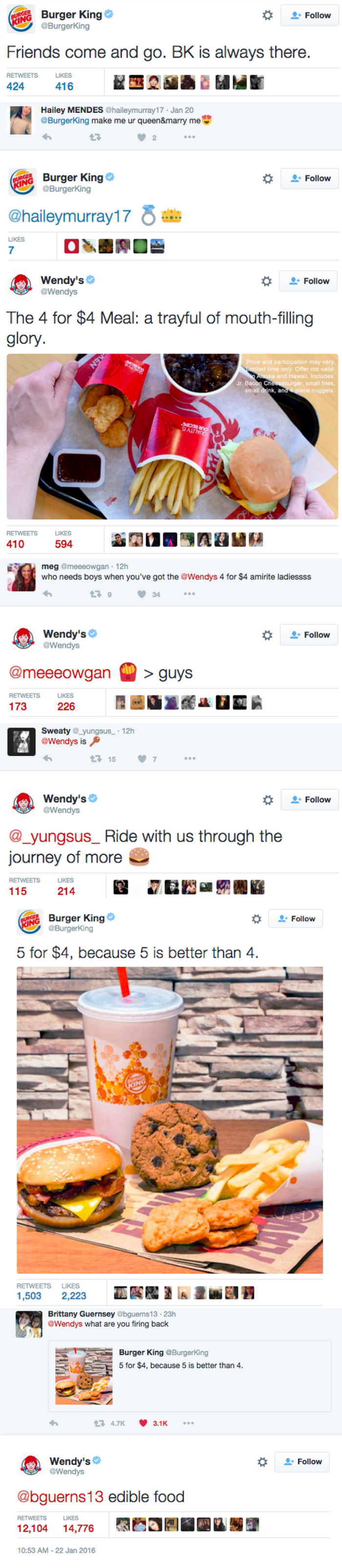 funny twitter fight Burger King and Wendys get heated on social media