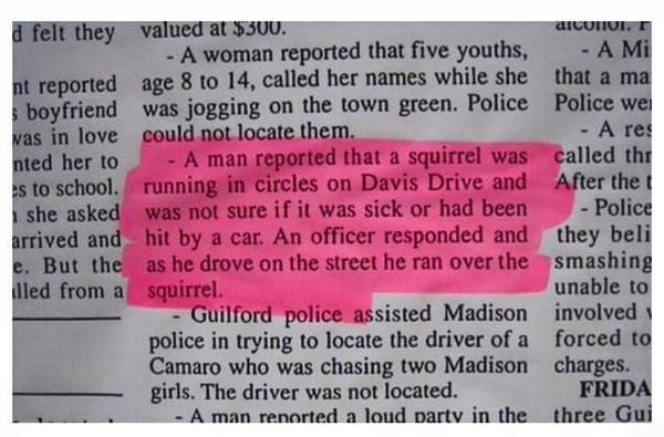 funny fail image newspaper notice cop kills squirrel