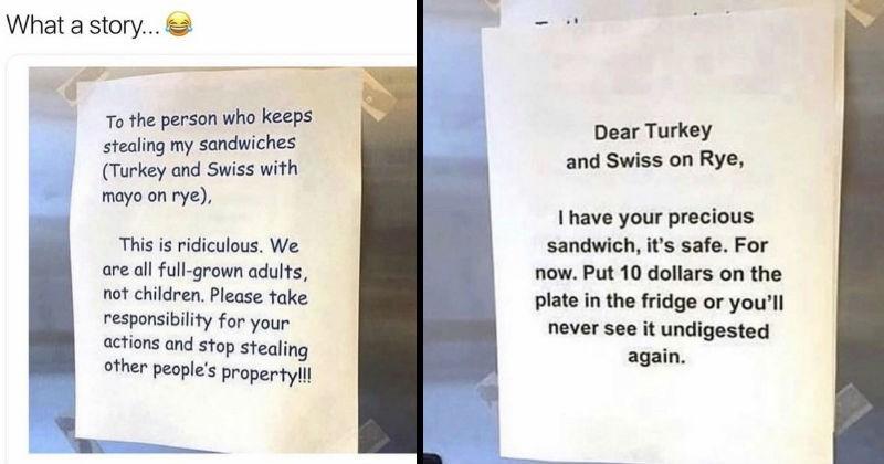 sandwich saga, coworkers drama, funny, fail,