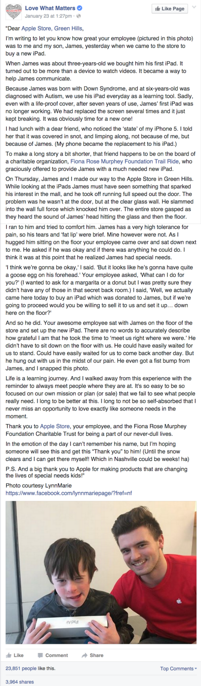 heartwarming parenting facebook post about patient and kind apple store employee