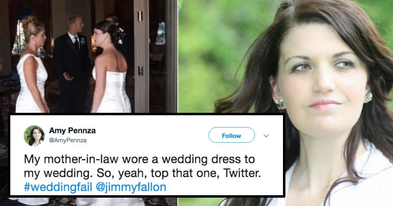 mother in law wears white dress to son's wedding
