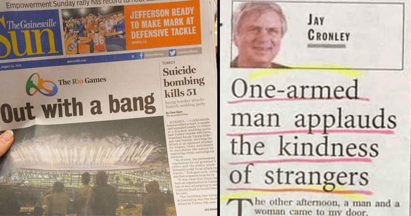 Cringey news headlines, news fails, newsprint fails.