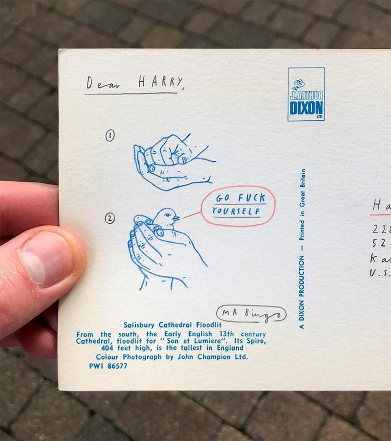 offensice postcard with a cursing bird