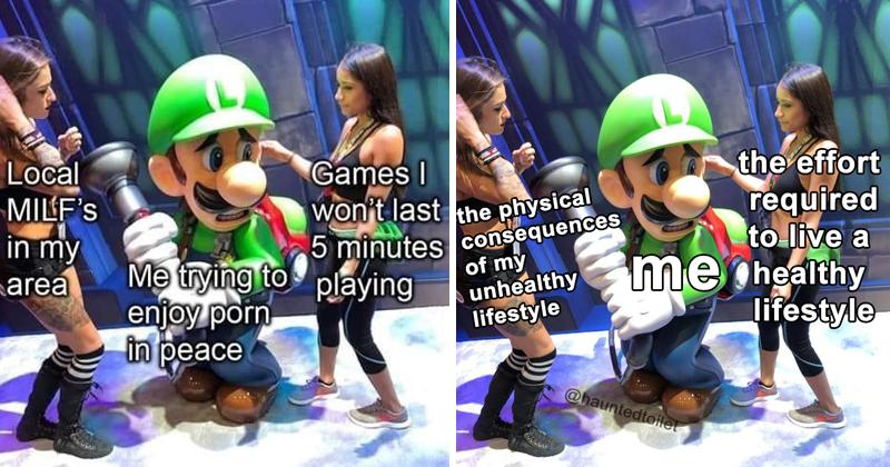 Luigi memes, scared luigi memes, e3 2019, nintendo, porn memes.
