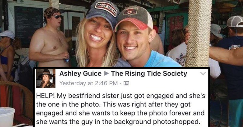 couple asks for man to be removed from their photo by Photoshop