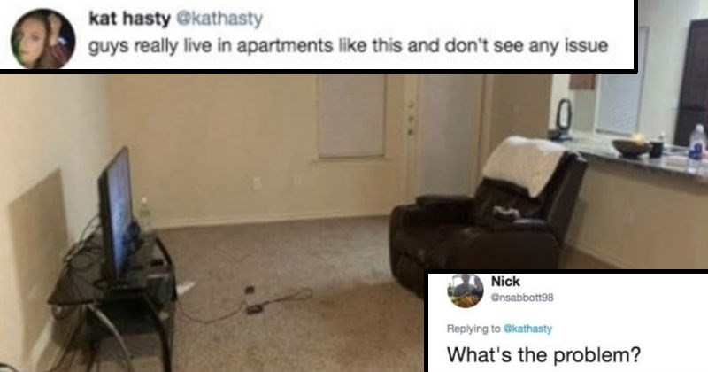 hoke about men living in apartments without furniture