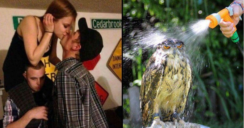 couple kissing on top of other guy's shoulders and owl getting sprayed with water