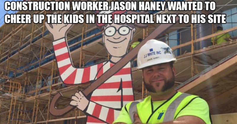 heartwarming story about construction worker planting waldo pic for hospitalized kids to find