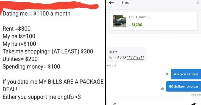 person demanding their partner pay their bills and ad for car