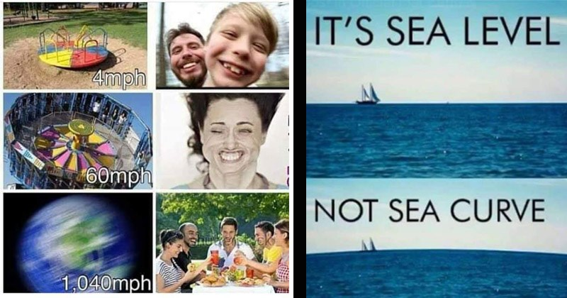 15 Cringey Flat-Earth Memes That Are Devoid Of Logic   4mph 60mph 1,040mph centrifugal force   SEA LEVEL NOT SEA CURVE