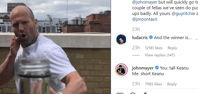 Bottle Cap Challenge, what is the bottle cap challenge, instagram posts from John mayer and jason statham for bottle cap challenge.