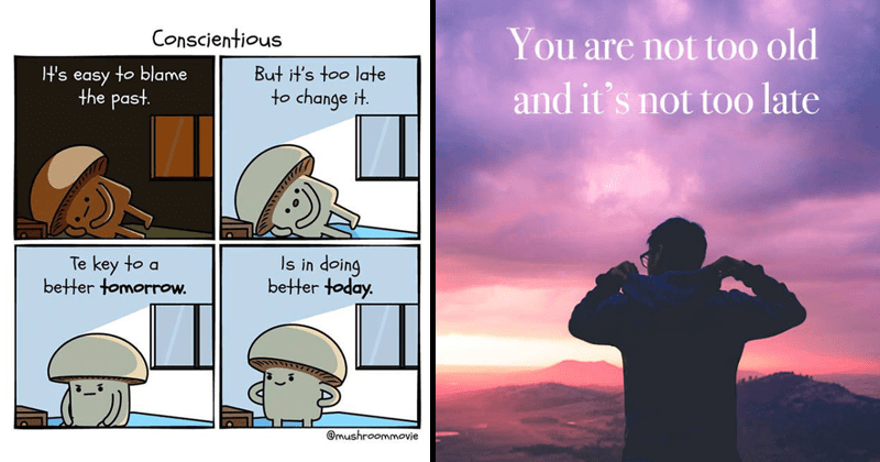 Motivational comics, inspirational quotes, wholesome.