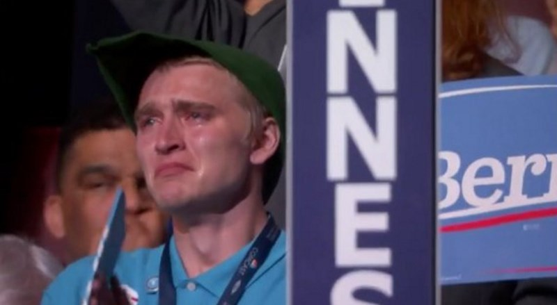 twitter list bernie sanders Democratic National Convention meme crying politics