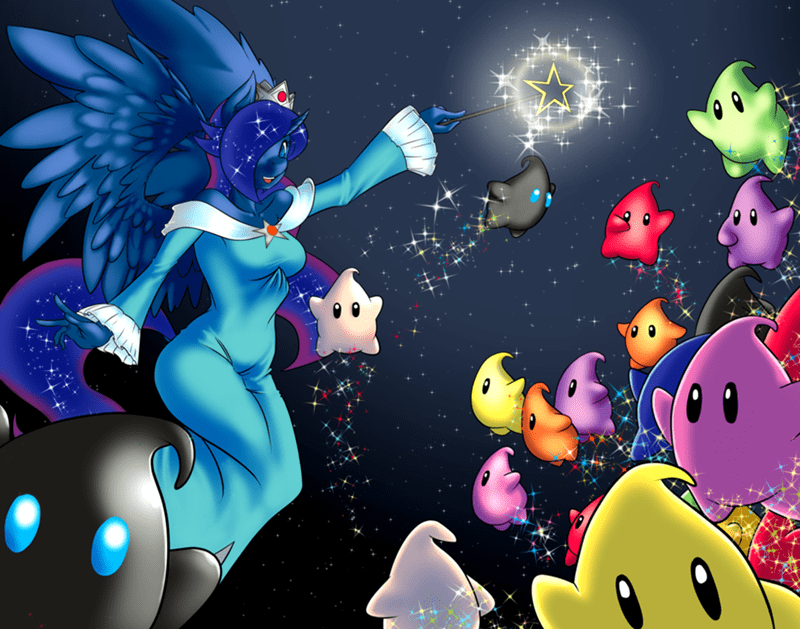 Super Mario Galaxy,luma,princess luna,rosalina