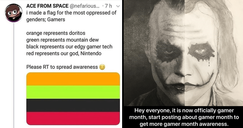 Funny tweets about Gamer pride month, gamers rise up.