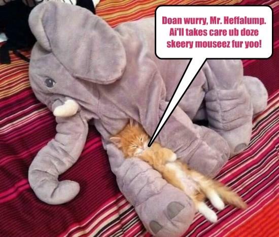 scary,dont worry,cat,elephant,heffalump,mice,caption