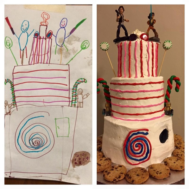 parenting win image mother makes cakes exactly as birthday kid designed it
