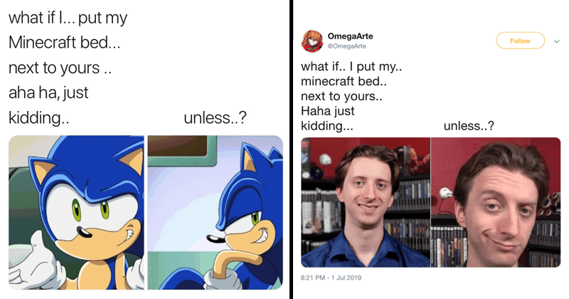 Funny memes, what if i put my minecraft bed next to yours, gaming memes, gamers, projared, pikachu, sonic the hedgehog.