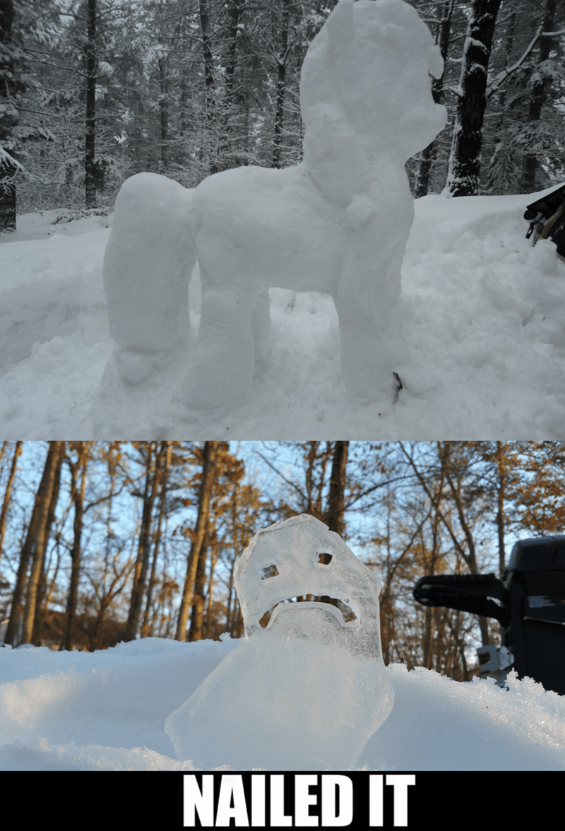 applejack,hearthbreakers,ice sculpture,snow sculpture,Nailed It