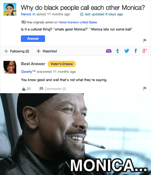 why do black people call each other monica