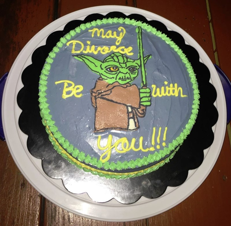 funny dating image star wars divorce cake