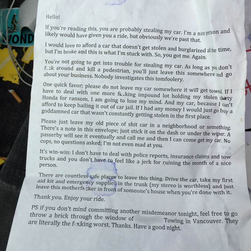 funny fail image crappy car gets stolen a lot so owner writes thieves a note