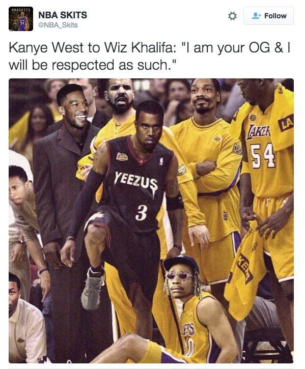 "Team - NBASKITS NBA SKITS Follow @NBA Skits Kanye West to Wiz Khalifa: ""I am your OG & I will be respected as such."" LA LAKCK 54 YEEZUS 3 E'S KE"